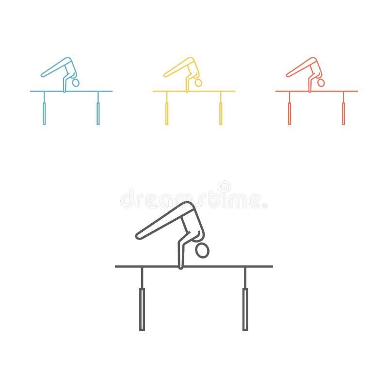 Barras paralelas Linha ícones Ginástica artística Sinal do esporte ilustração do vetor