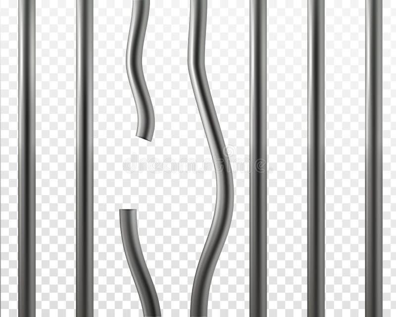 Barras rotas vector de la prisión Concepto de la rotura de la cárcel libre illustration