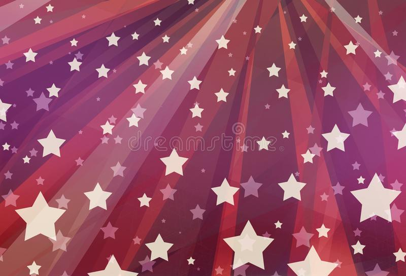 Barras y estrellas púrpuras y rosadas blancas rojas del diseño del fondo en la disposición abstracta geométrica moderna, rayado t libre illustration