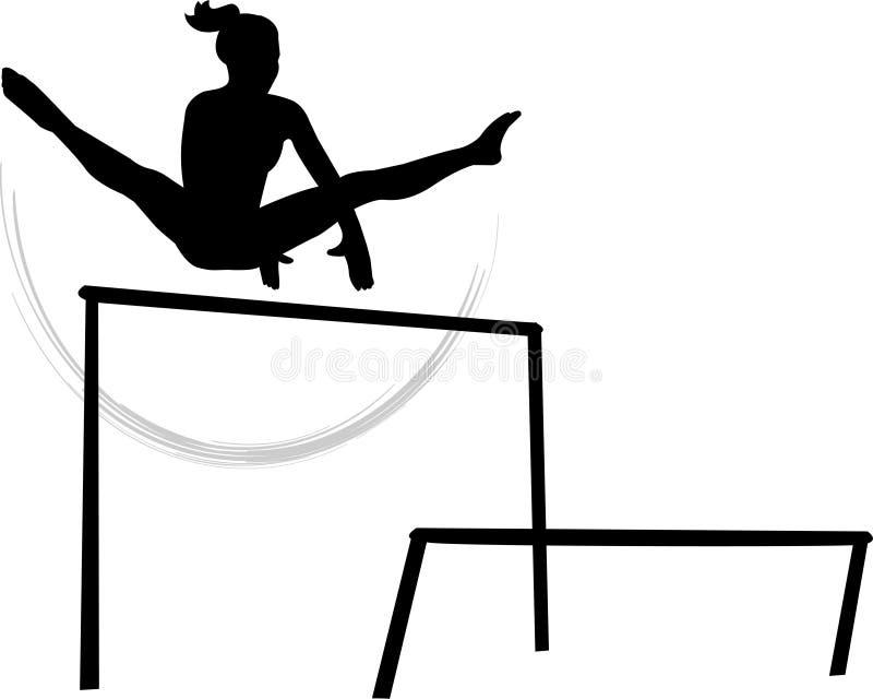 Barrases paralelas desiguales de la gimnasia de mujeres ilustración del vector