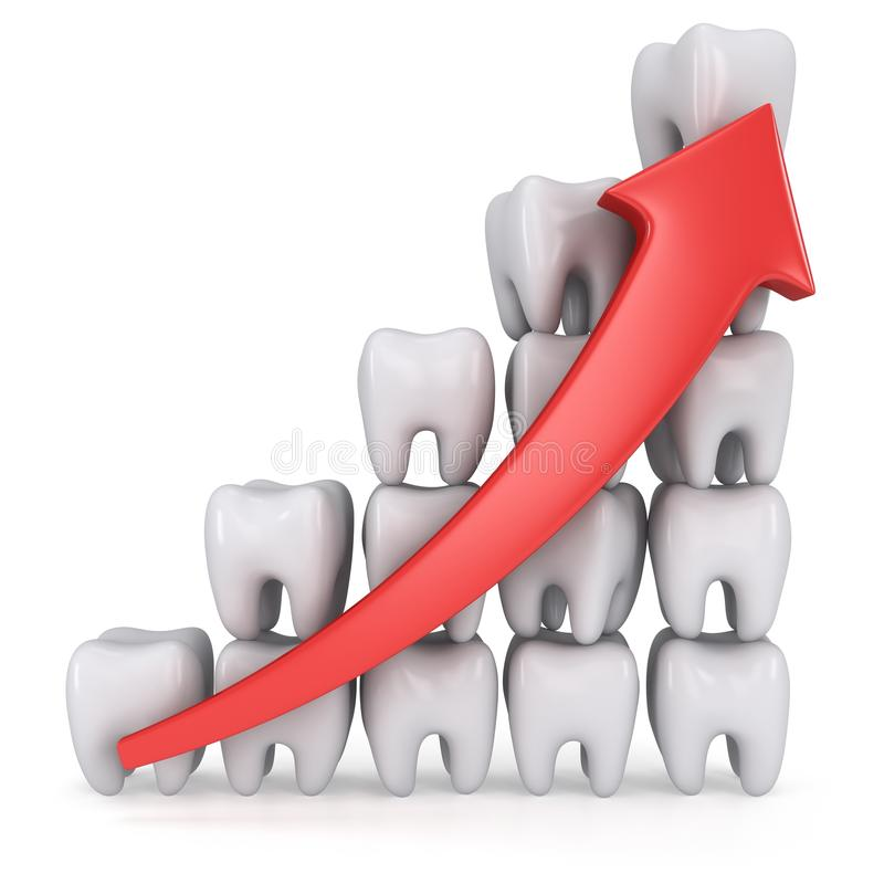 barre analogique des dents 3d avec la flèche rouge illustration stock