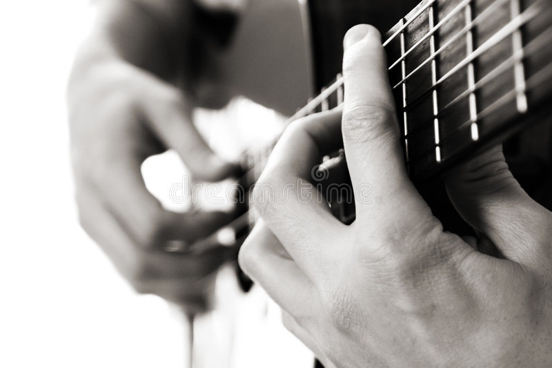 Barre chord, acoustic guitar stock images