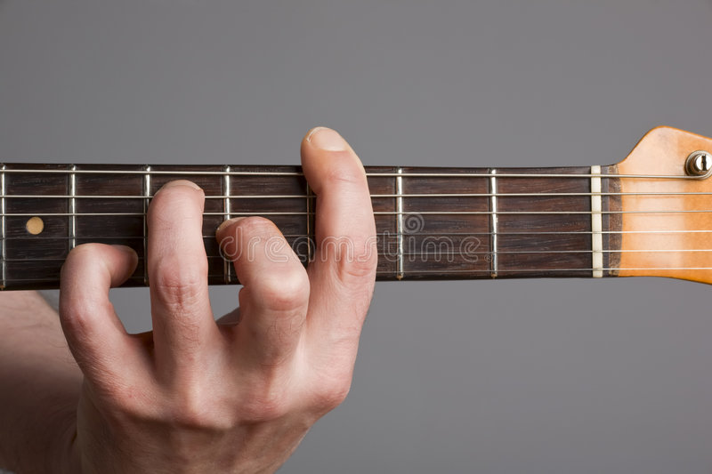 Barre Chord On Electric Guitar Stock Images