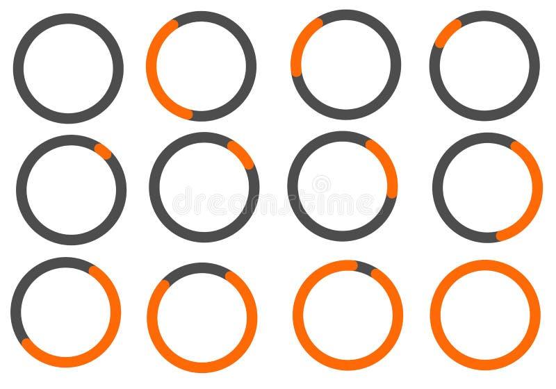 Barre circulaire de progrès de couleur orange pour des applications de Web et de mobile illustration de vecteur