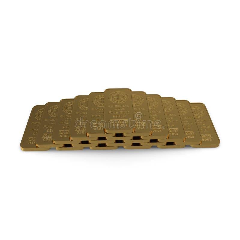 Barre d'or 1000g d'isolement sur le blanc illustration 3D illustration stock