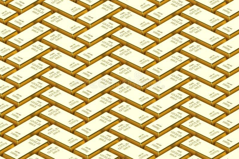 Barre d'or sur un fond blanc 3D rendu, illustration 3D photos libres de droits