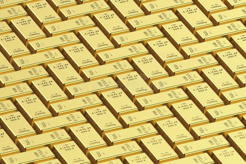 Barre d'or sur un fond blanc 3D rendu, illustration 3D image stock