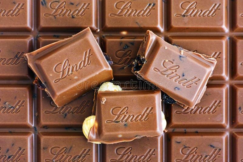 Barre de chocolat classique suisse de noisette de raisin sec de lait d'or de Lindt images stock