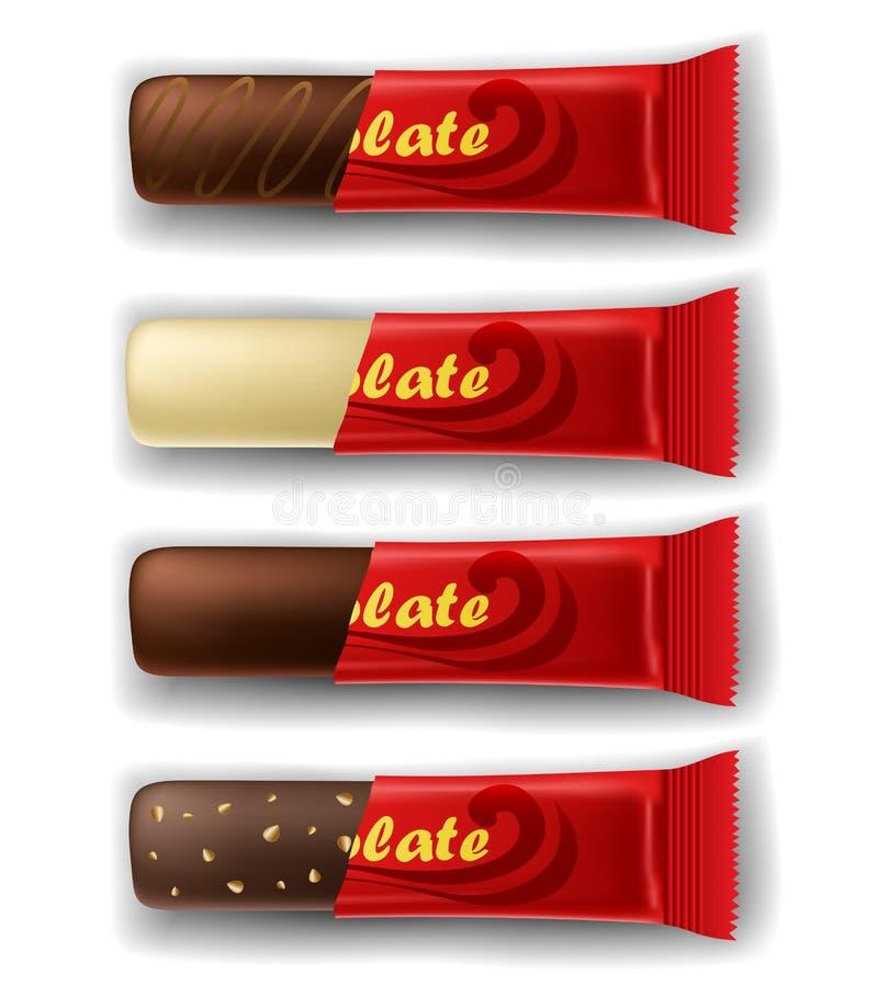Barre de chocolat dans l'ensemble de paquet illustration de vecteur