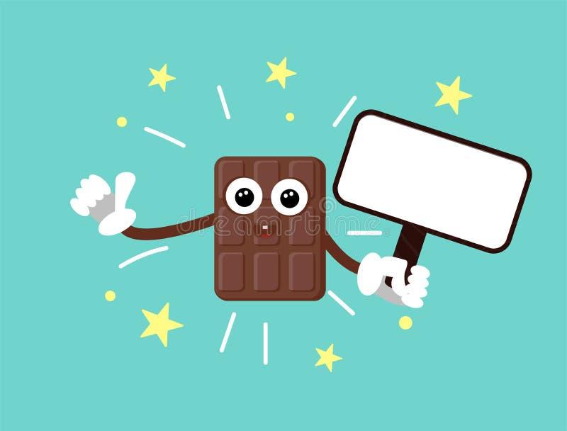 Barre de chocolat dr?le avec des yeux et des mains dans les gants Les expositions manient maladroitement vers le haut des bonbons illustration de vecteur