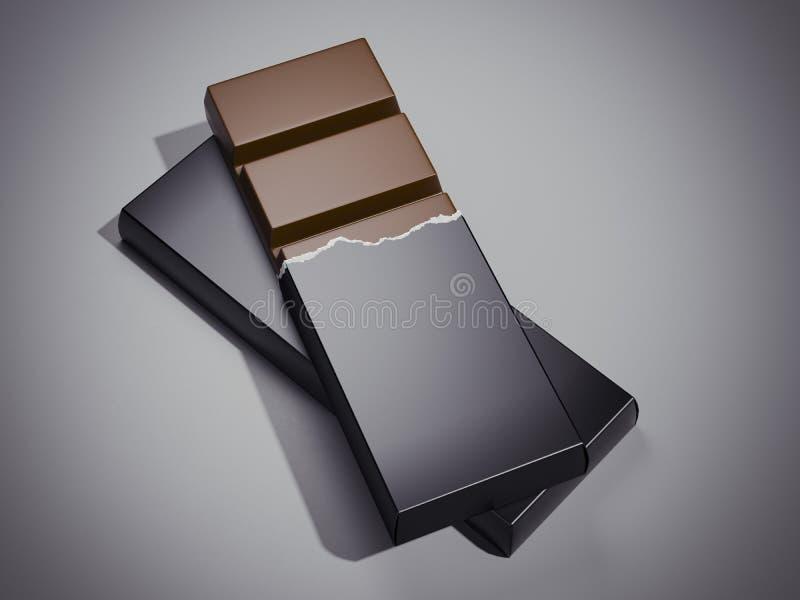 Barre de chocolat en emballage noir rendu 3d illustration libre de droits