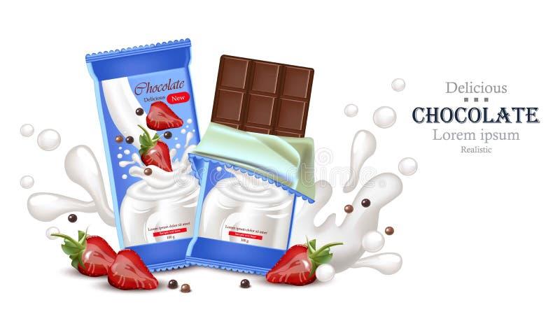 Barre de chocolat de fraise avec le vecteur d'éclaboussure de crème de lait réaliste La moquerie d'emballage de produit se lève illustration libre de droits