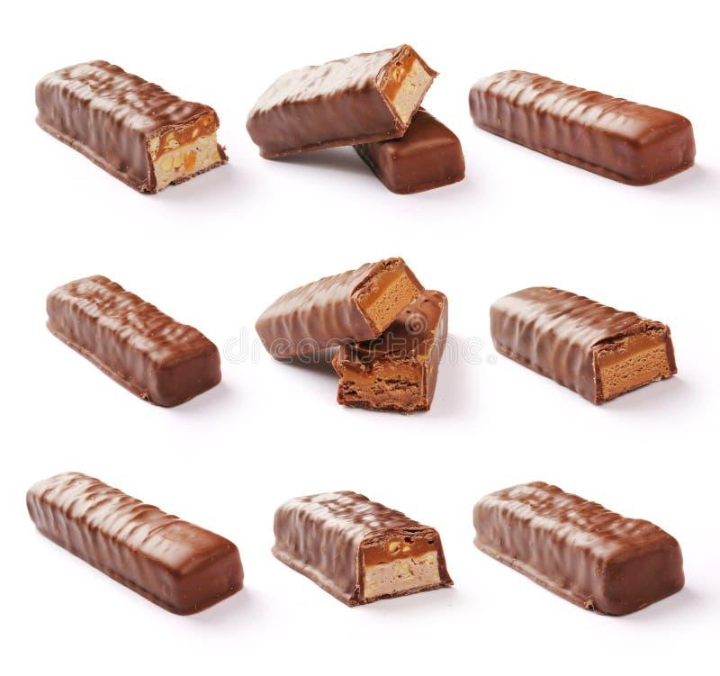 Barre de chocolat réglée avec le chemin de coupure photo stock