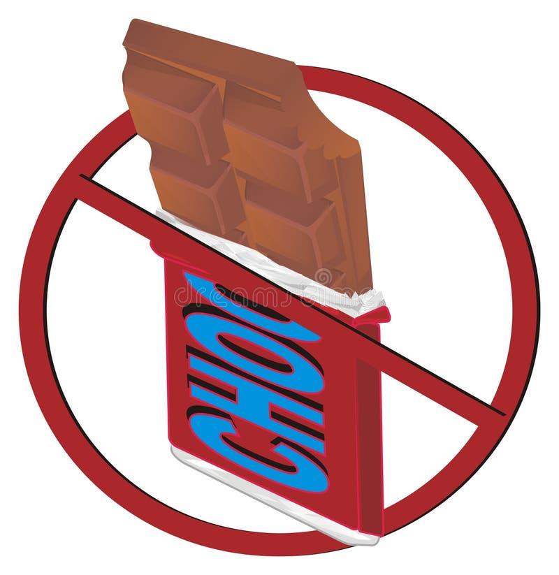 Barre de chocolat sur l'interdiction illustration libre de droits