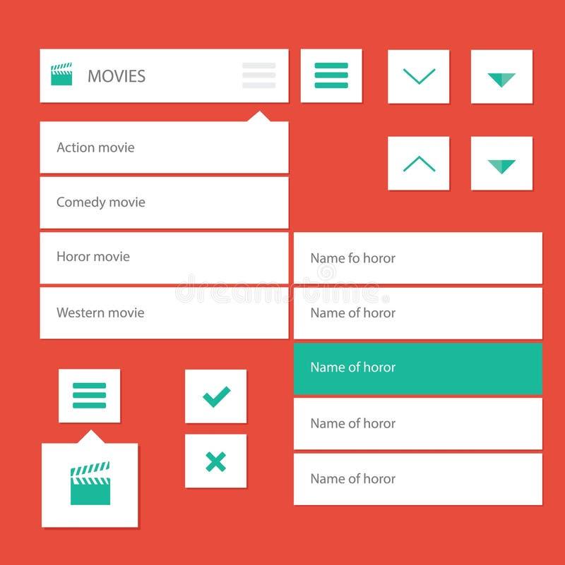 Barre de menu plate de conception de kit d'ui pour le site Web de film illustration de vecteur