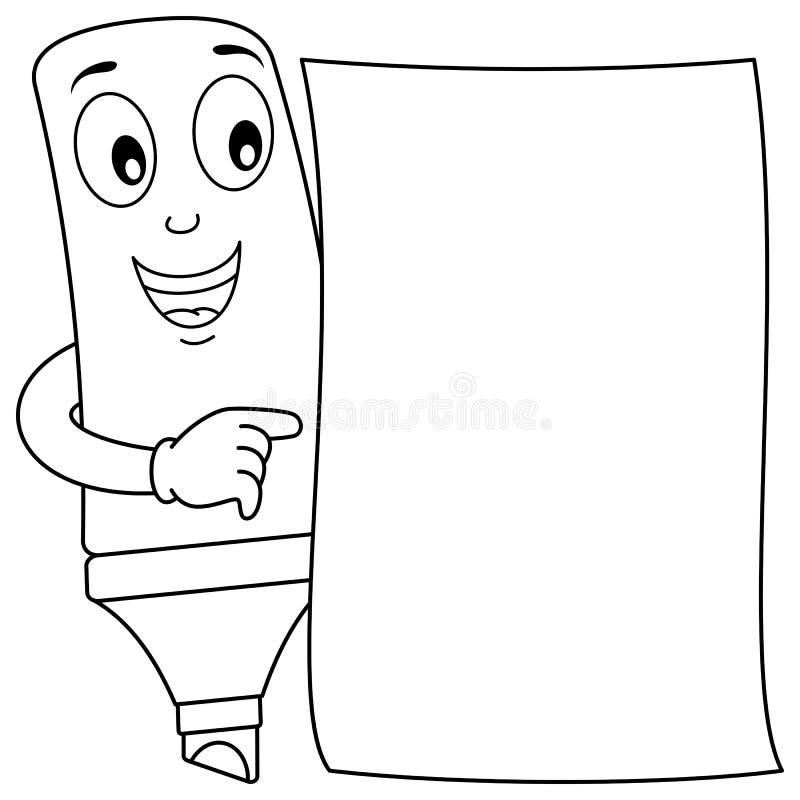 Barre de mise en valeur de bande dessinée de coloration et papier blanc illustration libre de droits