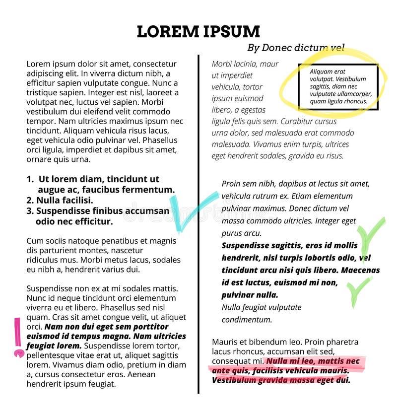 Barre de mise en valeur des textes de note de marqueur Sélection de point culminant de vecteur sur des mots illustration libre de droits