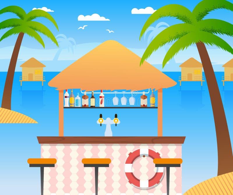 Barre de plage avec vendre les boissons froides d'alcool, l'eau illustration libre de droits