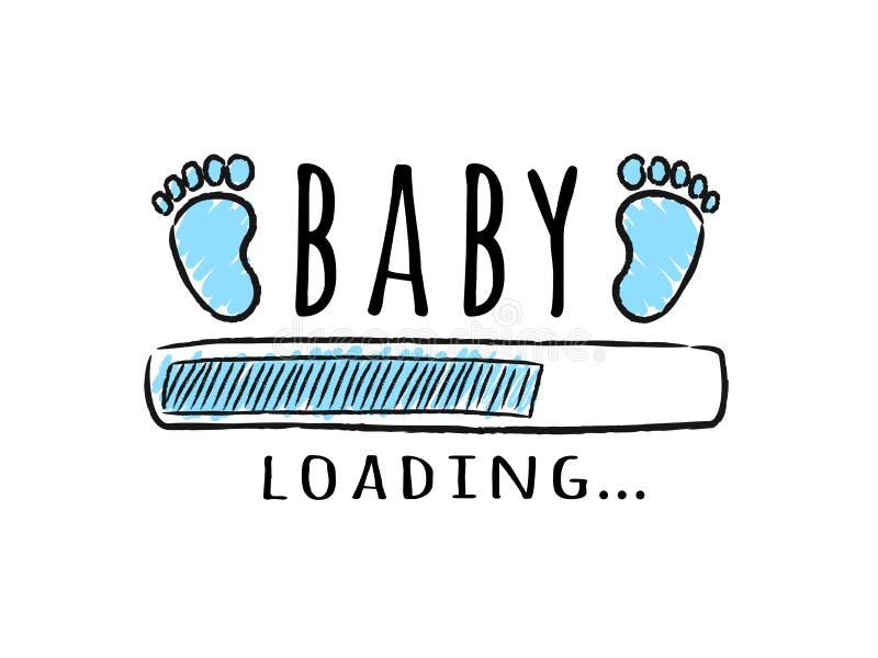 Barre de progrès avec l'inscription - empreintes de pas de chargement et d'enfant de bébé dans le style peu précis illustration de vecteur
