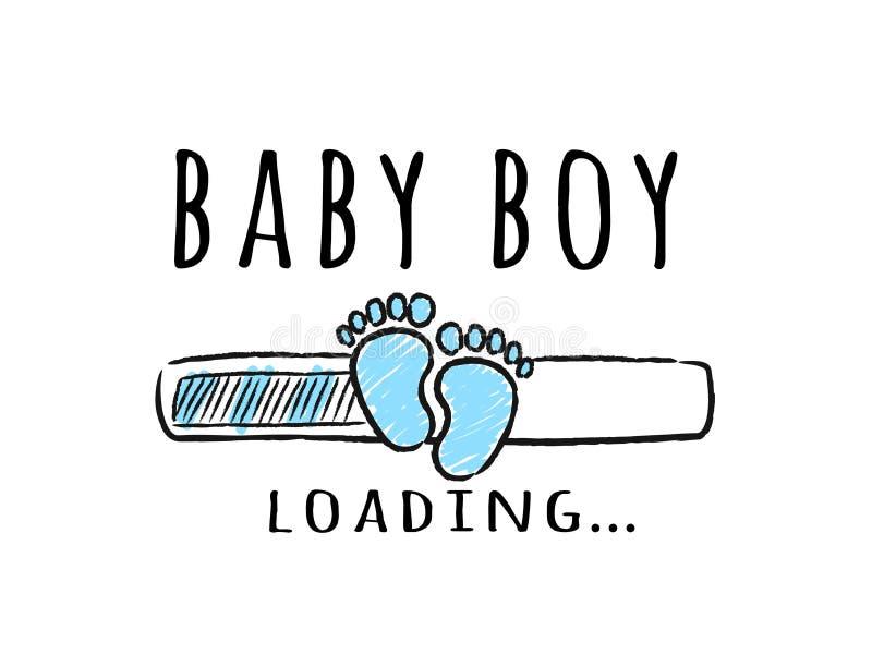 Barre de progrès avec l'inscription - empreintes de pas de chargement et d'enfant de bébé garçon dans le style peu précis illustration stock