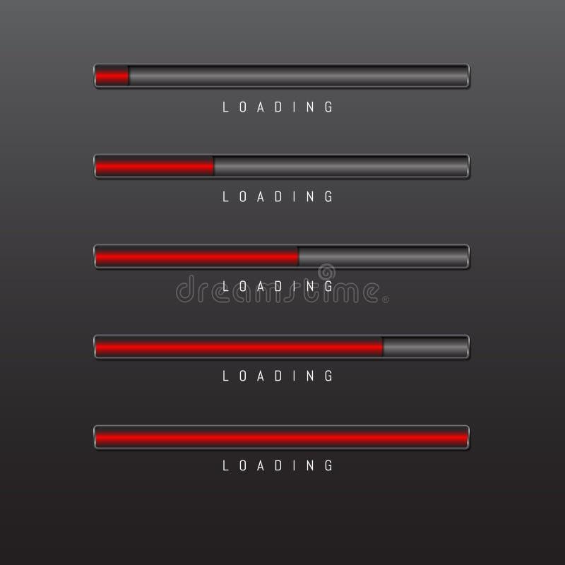 Barre de progrès et couleur rouge de chargement sur le vecteur noir de fond illustration stock