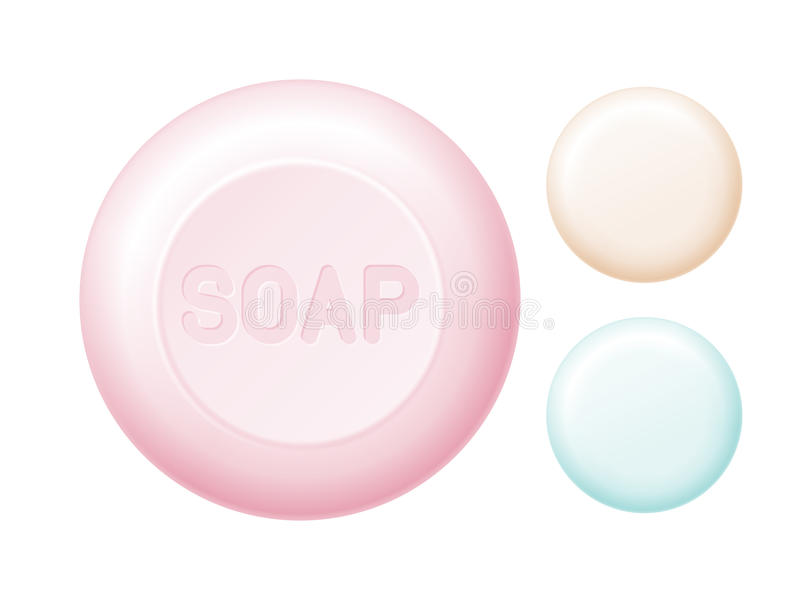 Barre de savon arrondie d'isolement sur le blanc Vecteur recolored facile illustration stock