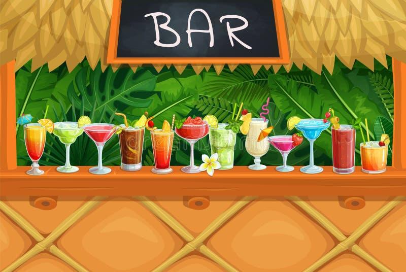 Barre de tiki de plage, cocktails alcooliques, illustration libre de droits