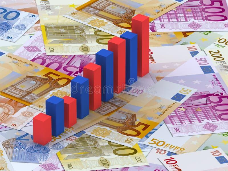 Barre del grafico sugli euro illustrazione vettoriale