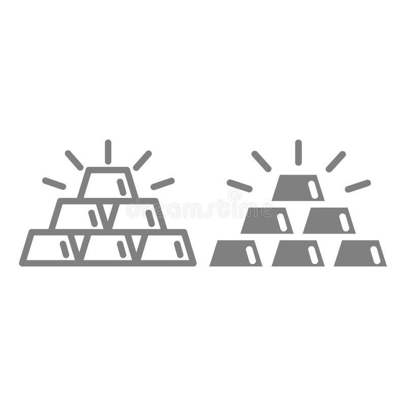 Barre della linea dell'oro e dell'icona di glifo Illustrazione di vettore dei lingotti dell'oro isolata su bianco Progettazione d illustrazione vettoriale