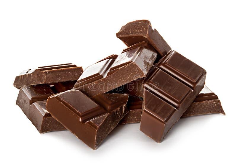 Barre di cioccolato isolate su bianco fotografie stock libere da diritti