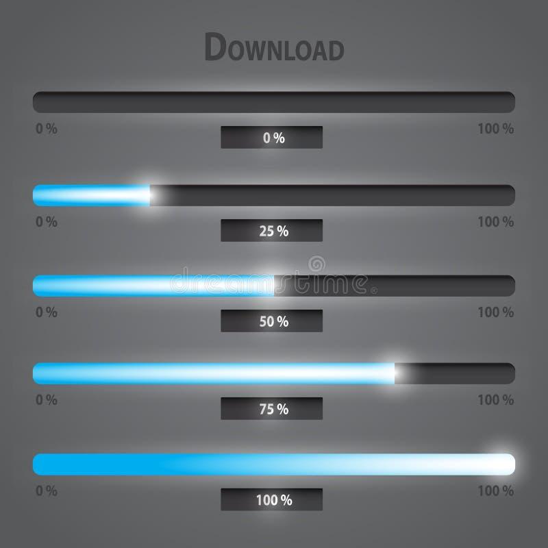 Barre di download di Internet delle luci del blu messe illustrazione di stock