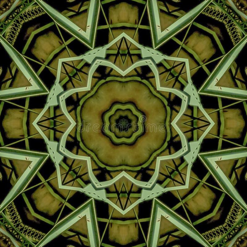 Barre di metallo verdi circolari del quadrato create facendo uso delle riflessioni in una forma arrotondata da un ponte in Califo illustrazione vettoriale