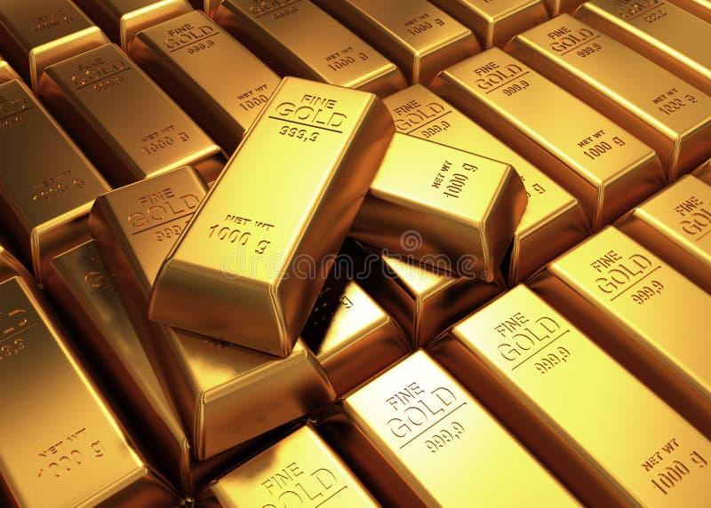 barre di oro 3d illustrazione di stock