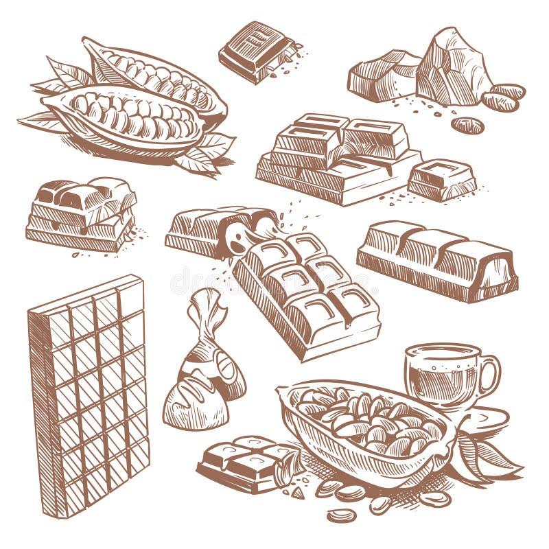 Barre disegnate a mano del cioccolato zuccherato, caramelle con pralina e fave di cacao Insieme di vettore del dessert di schizzo illustrazione vettoriale