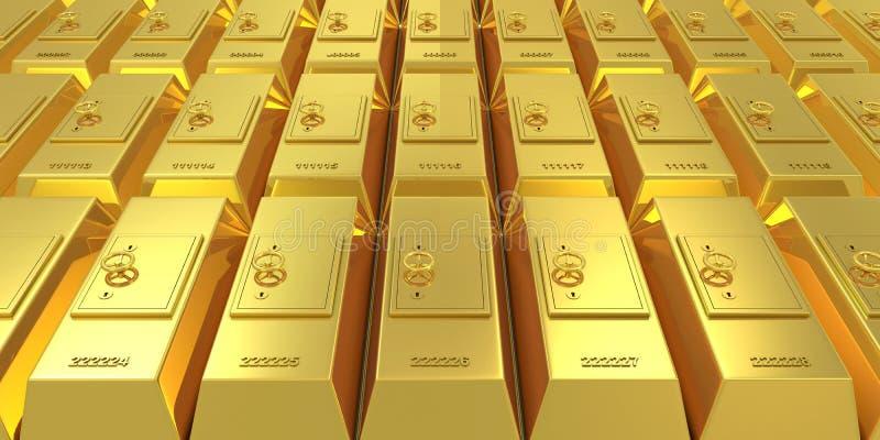 Barre dorate con i depositi sicuri illustrazione vettoriale