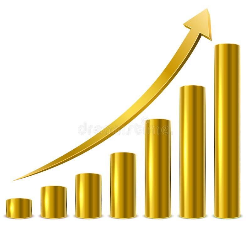 Barre dorate del grafico illustrazione vettoriale