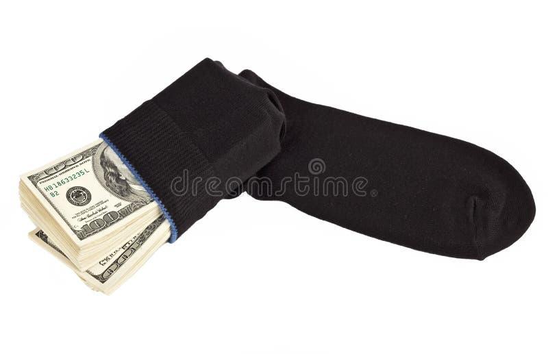 Barre du dollar dans une chaussette photo libre de droits