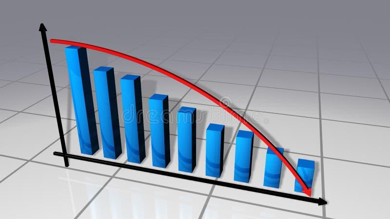 Barre e diagramma di affari della curva royalty illustrazione gratis
