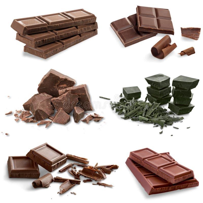 Barre e pezzi di cioccolato immagini stock
