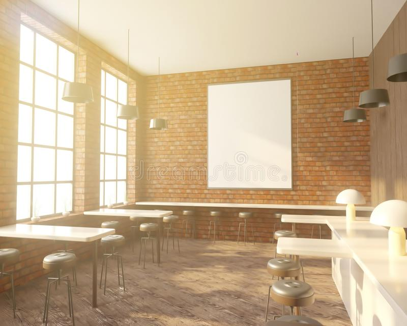 Barre el interior con una fila de tablas cerca de las ventanas, piso de madera representación 3d Mofa para arriba stock de ilustración