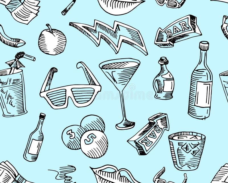 Barre et café, boisson et flèche dans le modèle d'arte dedans illustration libre de droits