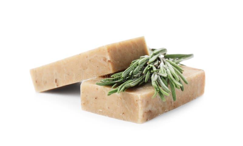 Barre fatte a mano e rosmarini del sapone fotografie stock