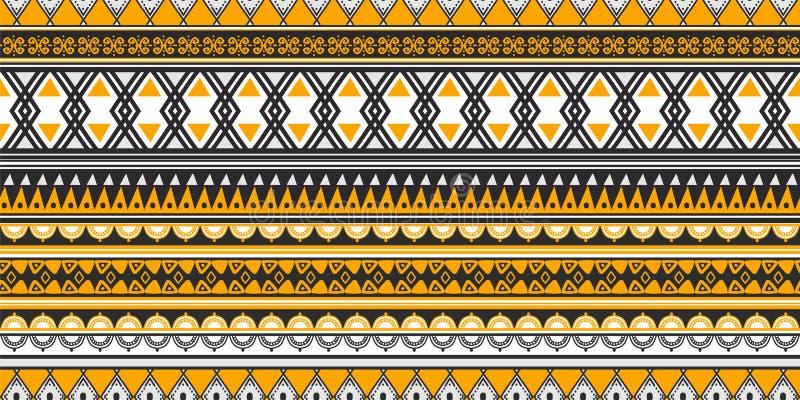 Barre l'illustration sans couture tirée par la main de vecteur de conception d'abrégé sur dessin de Maya antique tribal de modèle illustration stock