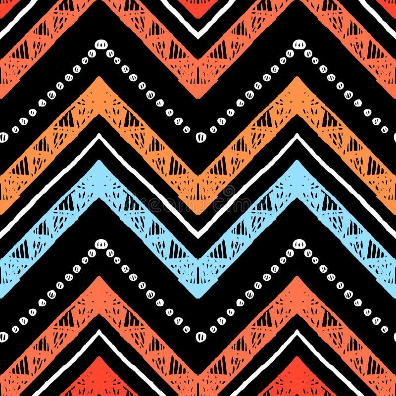Barre le modèle sans couture tribal lumineux avec le zigzag illustration de vecteur