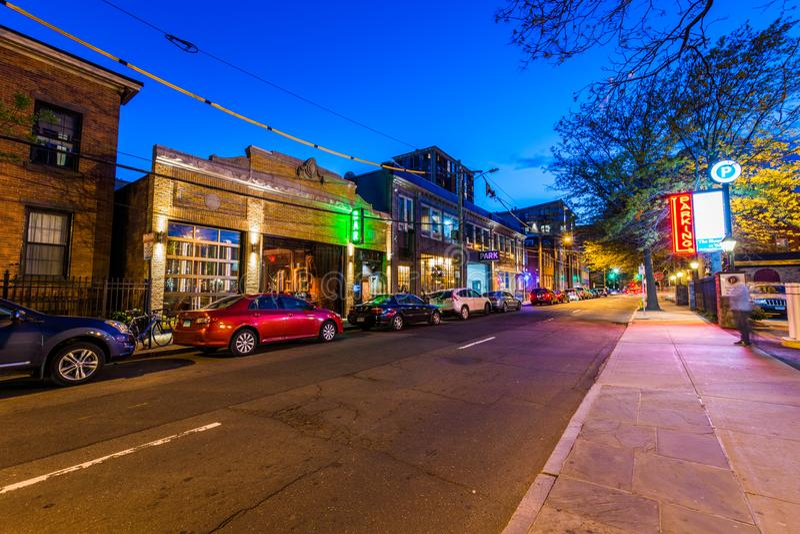 Barre sur la rue de couronne à New Haven, le Connecticut image libre de droits
