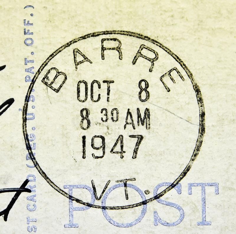 Barre Vermont Postmark 1947 royaltyfria bilder