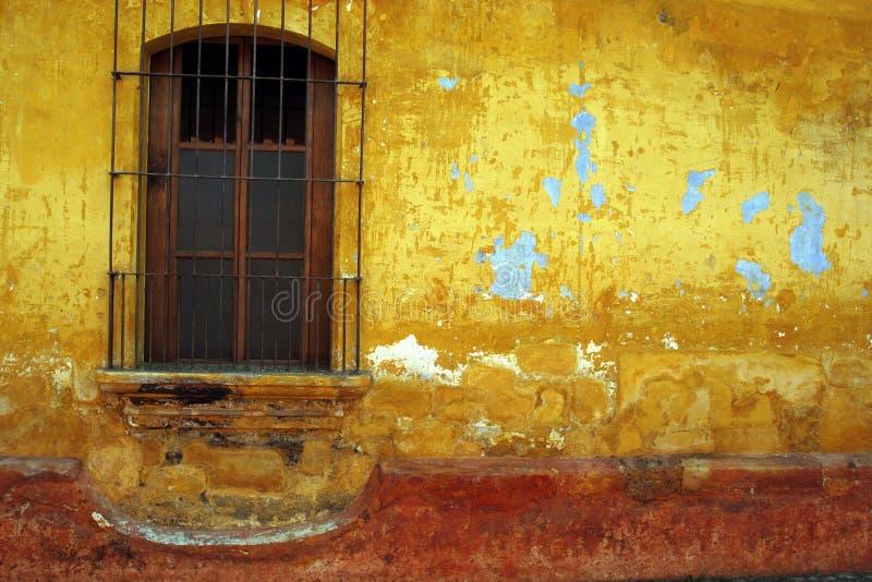 Barred Window, Antigua, Guatemala. Royalty Free Stock Image