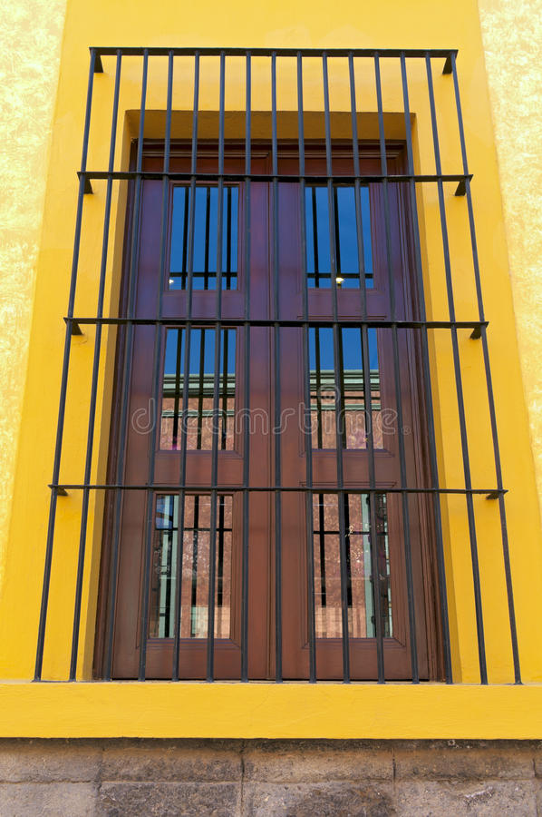 Barred Window and Reflections royalty free stock photos