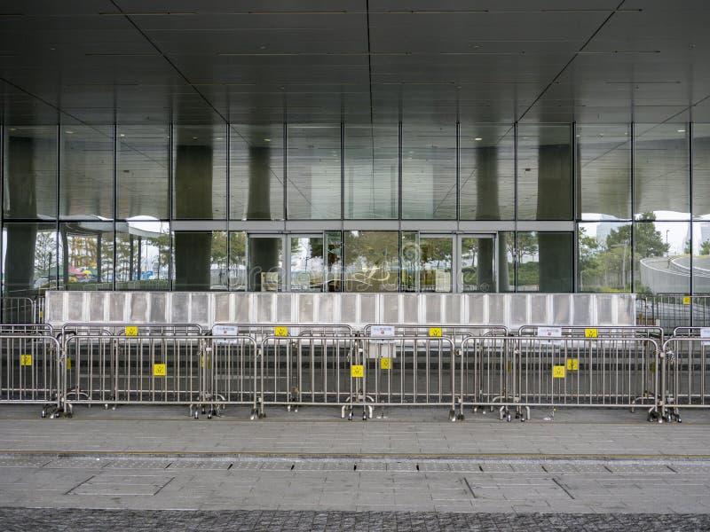 Barreira na frente do conselho legislativo - revolução do guarda-chuva, Admiralty, Hong Kong imagens de stock royalty free