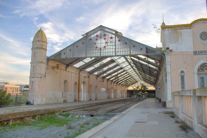 Barreiro gamla Neo-klassisk tågstation royaltyfri fotografi